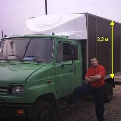 Обтекатель Зил Бычок, высота фургона 2.3 м, модель 4-Ф